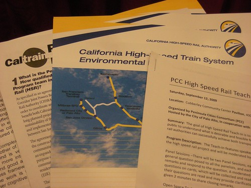 HSR high speed rail Teach-In Panel palo alto hand outs photo: copyright 2009 Katy Dickinson