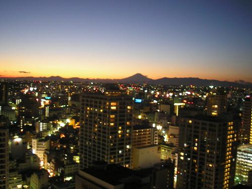 Yokohama at night, with Mount. Fuji