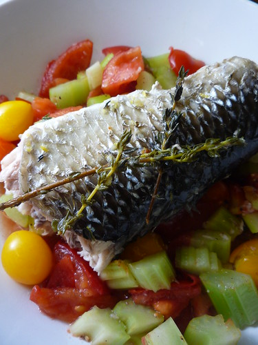 Roasted Grey Mullet with tomatoes and celery by you.