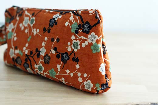 Orange Cherry Blossom Wristlet