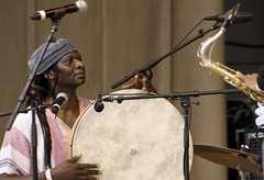 Hamid Drake plays the frame drum