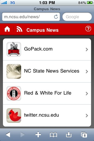 NC State Mobile website