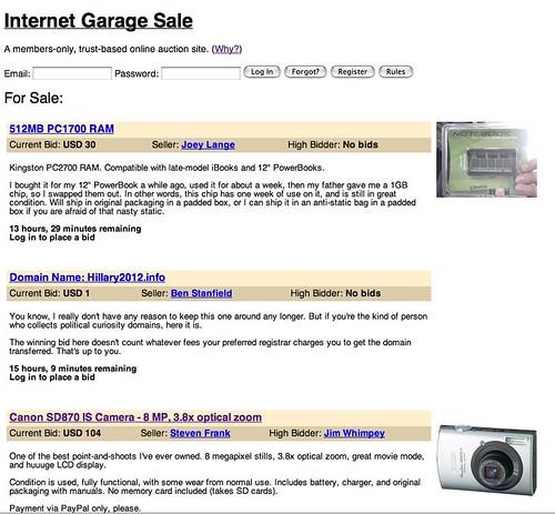 Internet Garage Sale