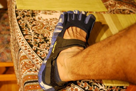 The Vibram FiveFinger Sprint model: the strap across the top gives a snug feel