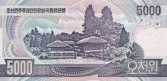North Korean 5000 won note back