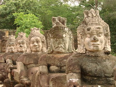 Sculptures along Causeway entering Angkor Thom - Cambodia