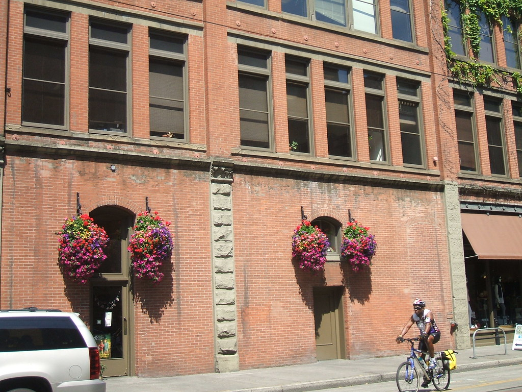 Hanging planters near Pioneer Square