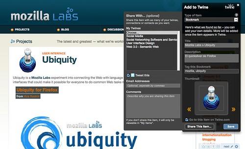Captura de pantalla del comando de Ubiquity add-to-twine con la opción de compartir desplegada.
