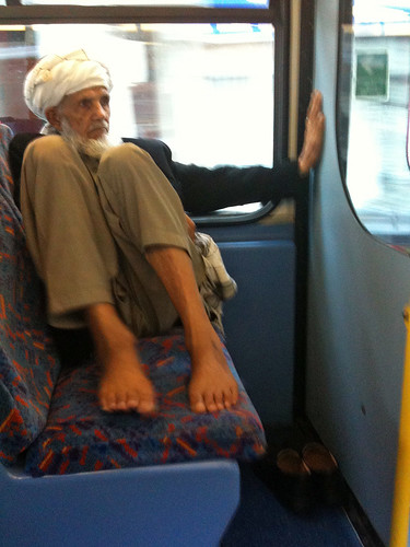 man with bare feet