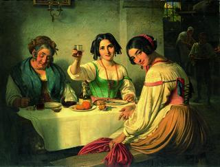 MIN 0918 Wilhelm Marstand, Italiensk Osteriscene. Pige, der byder den indtrædende velkommen by you.