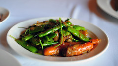 Side: Saffron-Braised Baby Carrots and Romano Beans.