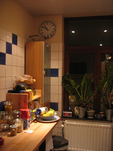Kitchen with improvised counter space