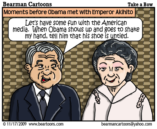 11 17 09 Bearman Cartoon Obama Akihito