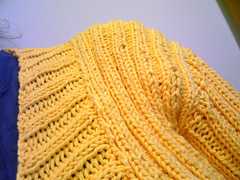 yellow jumper - shoulder