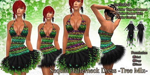 Sequin Halterneck Dress (Tree)
