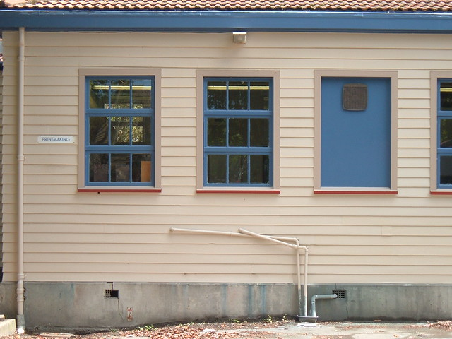 New Zealand weatherboard wall with windows art school Dunedin
