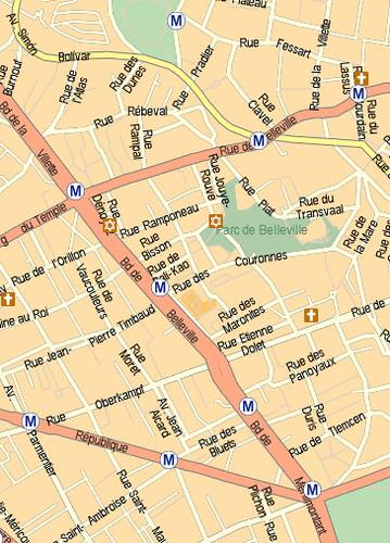 Buttes Chaumont to Parc de Belleville - Pere Lachaise2 - Mappy