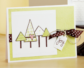 If youre a stamper, you cant go wrong with Alli Miles Trees of Joy Card (p. 29). Not only did this card grace our cover, it can be recreated in five steps or less!