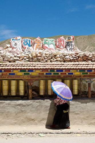 A huge Tibetan Buddhist Mani Stone Pile in Yushu, Tibet