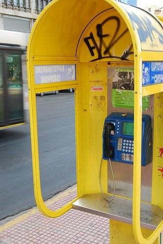 Cabina telefónica en Atenas
