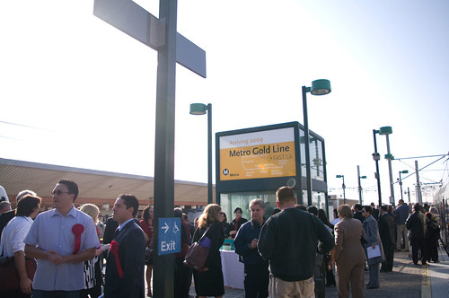 Officials and dignitaries crowded the Union Station Gold Line platform this morning.