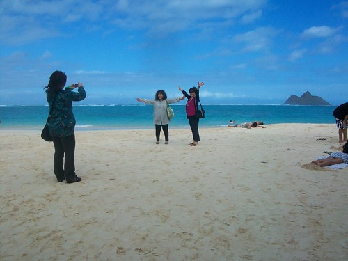 Tourists at Lanikai Beach
