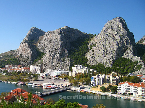 The right bank of Cetina mouth under the steep sides of Omis Dinara