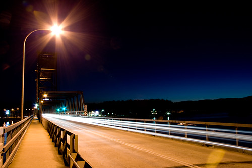 crossing the bridge Batemans Bay on dusk
