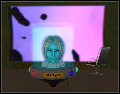 Avatar head in an ufo jar
