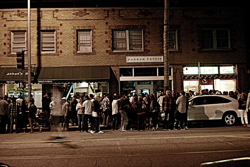 The crowd on Abbot Kinney, First Friday, Venice by you.