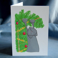 xmas card - christmas tree cat