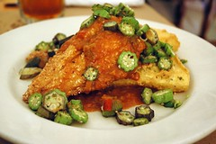 Sesame-crusted Catfish with sautéed okra & deep fried cheese grits - Hominy Grill, Charleston