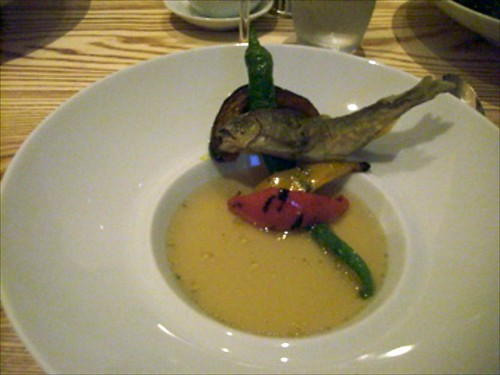 Sweetfish Fritter with Warm Ratatouille Consomme by bloompy