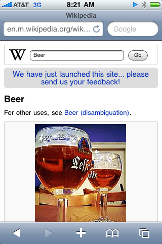 screen shot of a beer article