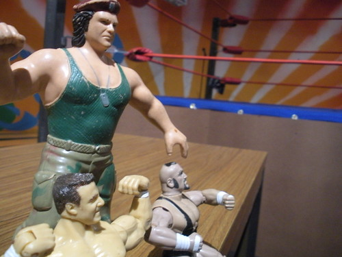 And its all overseen by the wrestling guys. Not dolls, not action figures. Wrestling guys.  Corporal Kirschner, Tazz (WWF spelling), and...well, some guy.  No one can figure out who he is.