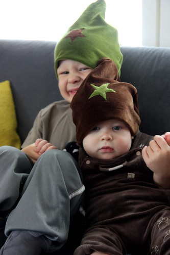 Mama's been sewing again and now she's making us wear these hats indoors!
