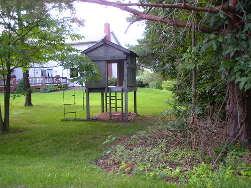 My old playhouse, complete with the paint cans left there more than five years ago.
