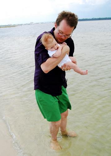 First dip in the ocean.