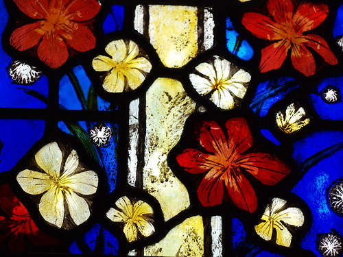 Detail from LSLs window at St John the Baptist, Bisley