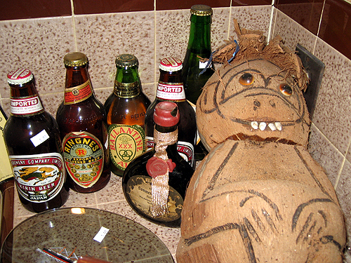 Coconut monkey and ancient beer
