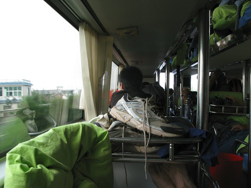 Picture of my feet, from inside the sleeper bus.