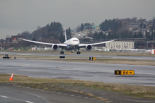 787 ZA001 (ANA colors) First Flight - Arrival at KBFI
