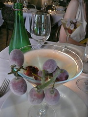 Ice wine martini garnished with frozen grapes