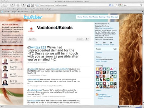 Vodafone twitter customer services