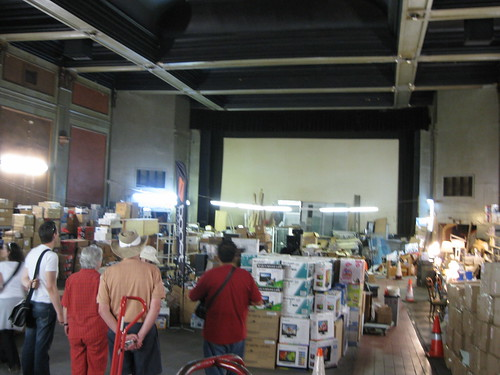 Interior of old Broadway theater, now an electronics shop storeroom