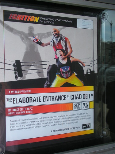 This poster is in the window at The Biograph.  Theres an even larger one, more than life-size one that Ill shoot soon.
