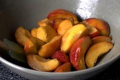 peaches, macerating