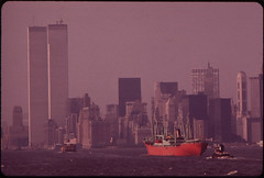 World Trade Center (Left) and Lower Hudson River Shipping Seen From the Staten Island Ferry 05/1973