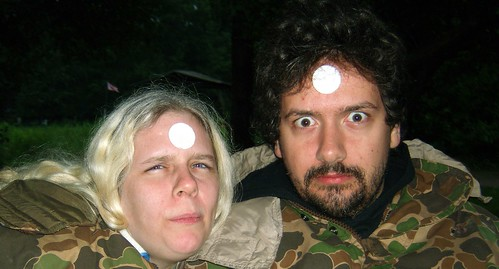 20090703 - X-Day - GEDC0261 - Carolyn, Clint - communion wafer foreheads