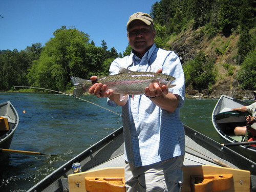 Angler of the Year Jim Becker with a gorgeous Middle Fork Willamette wild Rainbow
